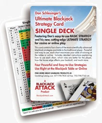 Single Deck Blackjack Basic Strategy Card